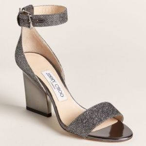 Jimmy Choo EDINA 85 Glitter Sandals Anthracite